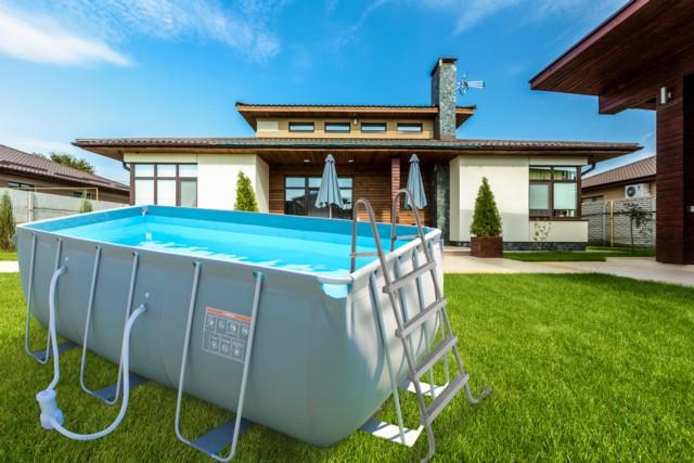 LAMAR Pool Komplett-Set inkl. Filterpumpe, Sicherheitsleiter & Poolcover 412 x 201 x 122 cm