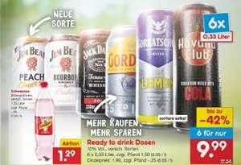 Mix Getränke 0,33 l Dosen (z.B. Jackie Cola /Jim Beam Cola) 6 für 9,99 € bzw. 5 für 7,96 € zzgl. Pfand [Netto] [LIDL] [10. - 15.05.]