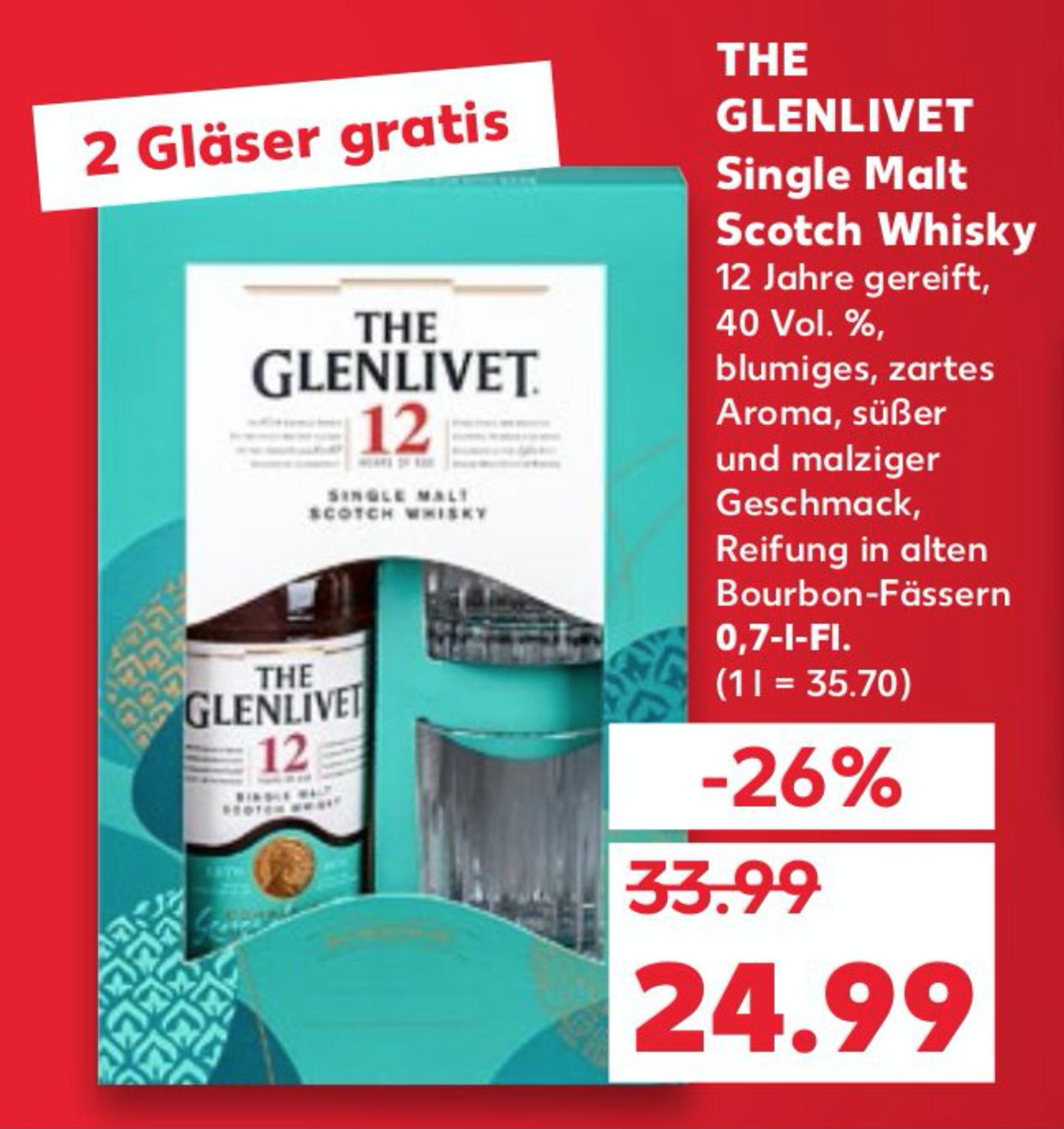 [KAUFLAND] The Glenlivet 12 Single Malt Scotch Whisky (1 x 0,7l) | MIT COUPON!