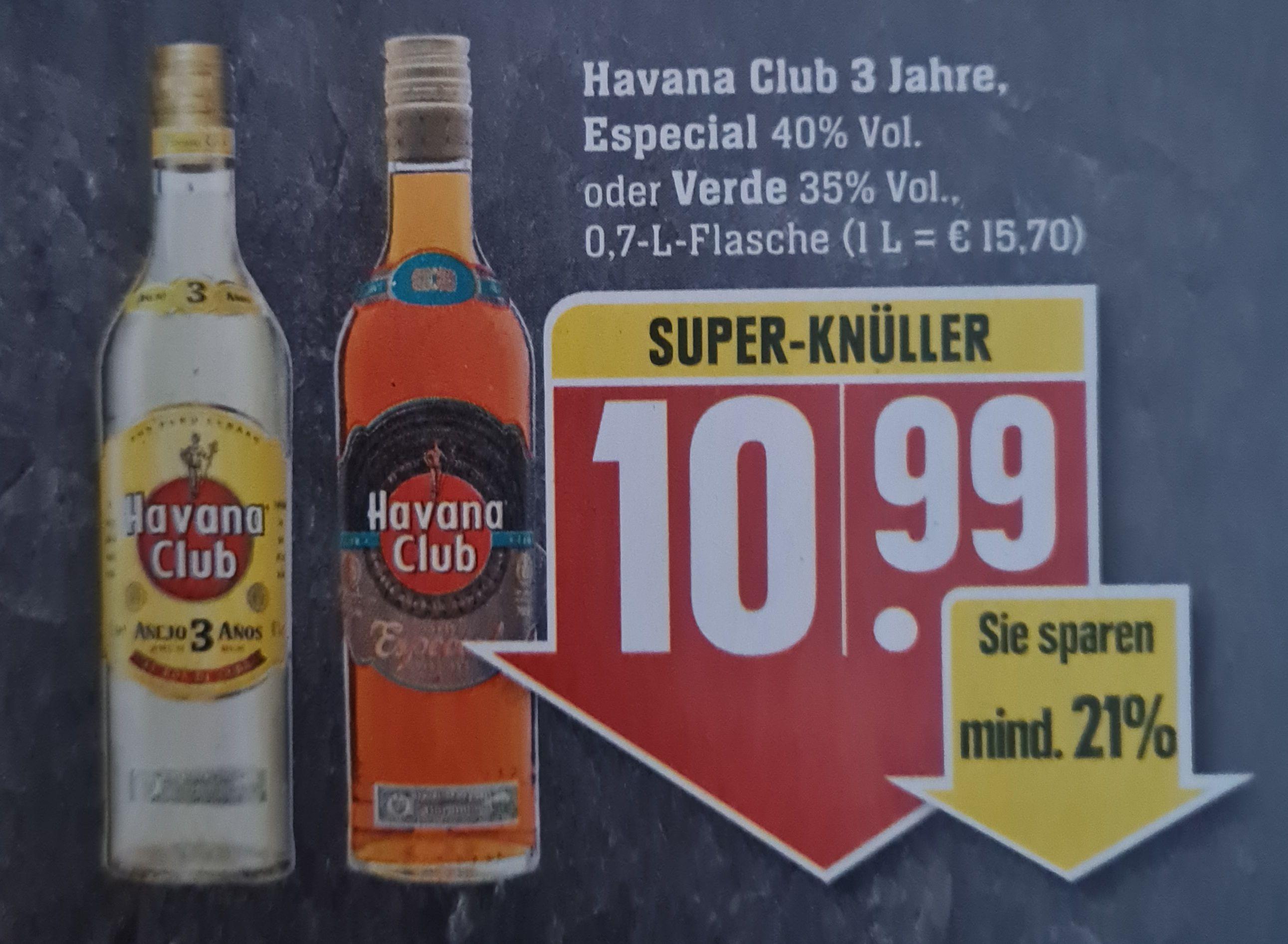 Havana Club 3 Jahre, Especial 40% oder Verde 35% Vol. 0,7 l ab 10.05 Edeka Südwest