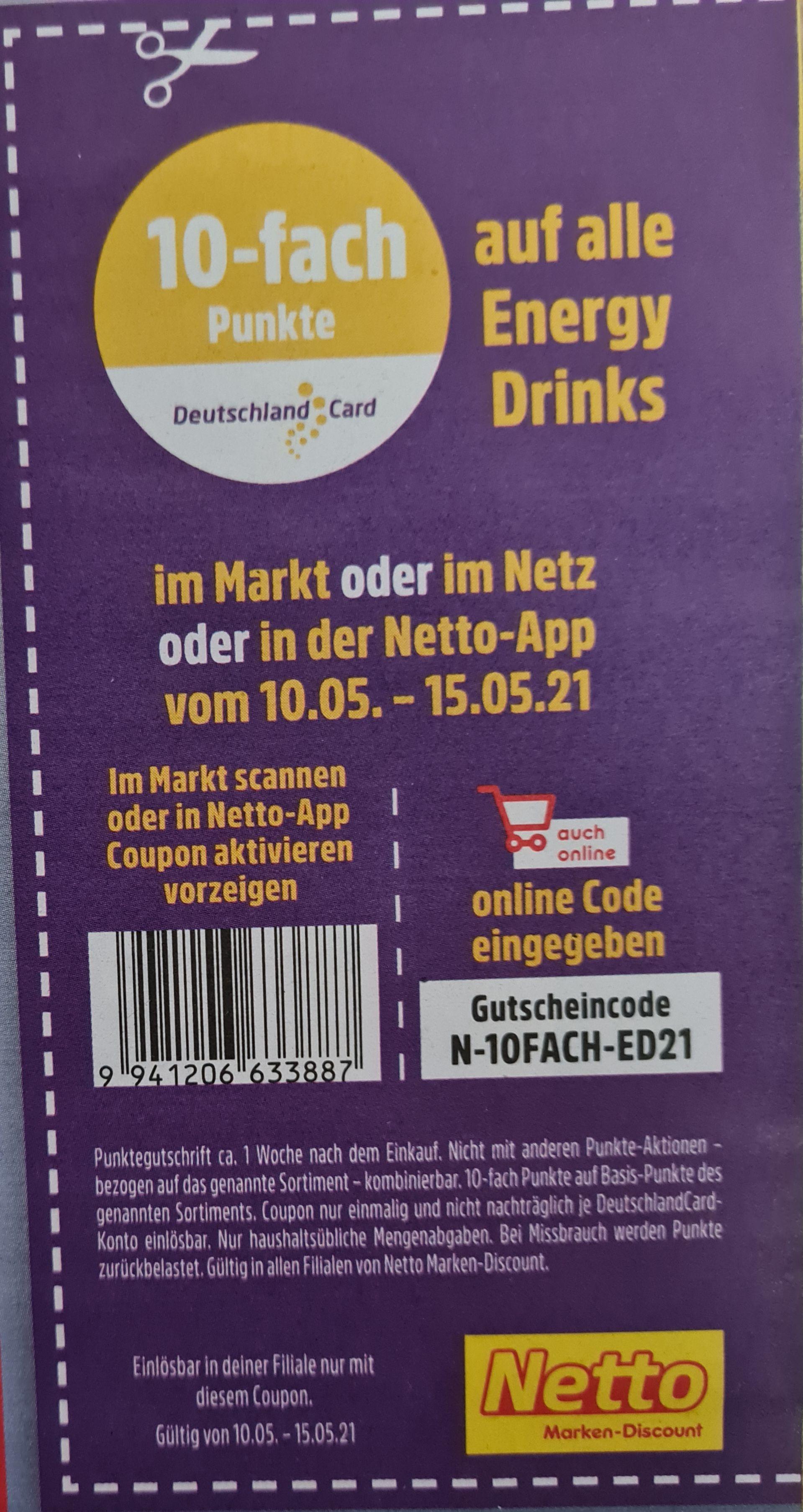 Netto MD 10-fach Punkte auf alle Energy Drinks im Markt, Online oder Netto-App 10.05-15.05