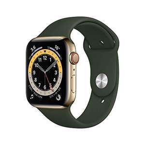 Apple Watch Series 6 LTE Gold Edelstahl 44mm Sportarmband Zyperngrün