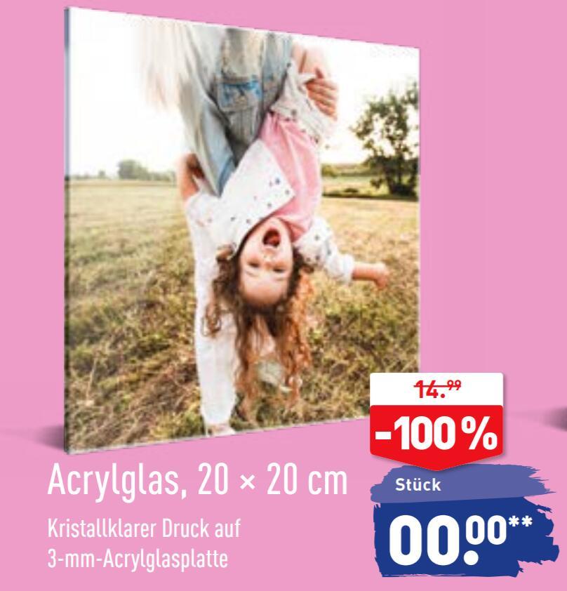 Acrylglas Druck 20 x 20 cm, 3 mm Acrylglasplatte für 4,99€ Versand [ALDI FOTOS ONLINE] UPDATE: Code funktioniert jetzt schon!!!