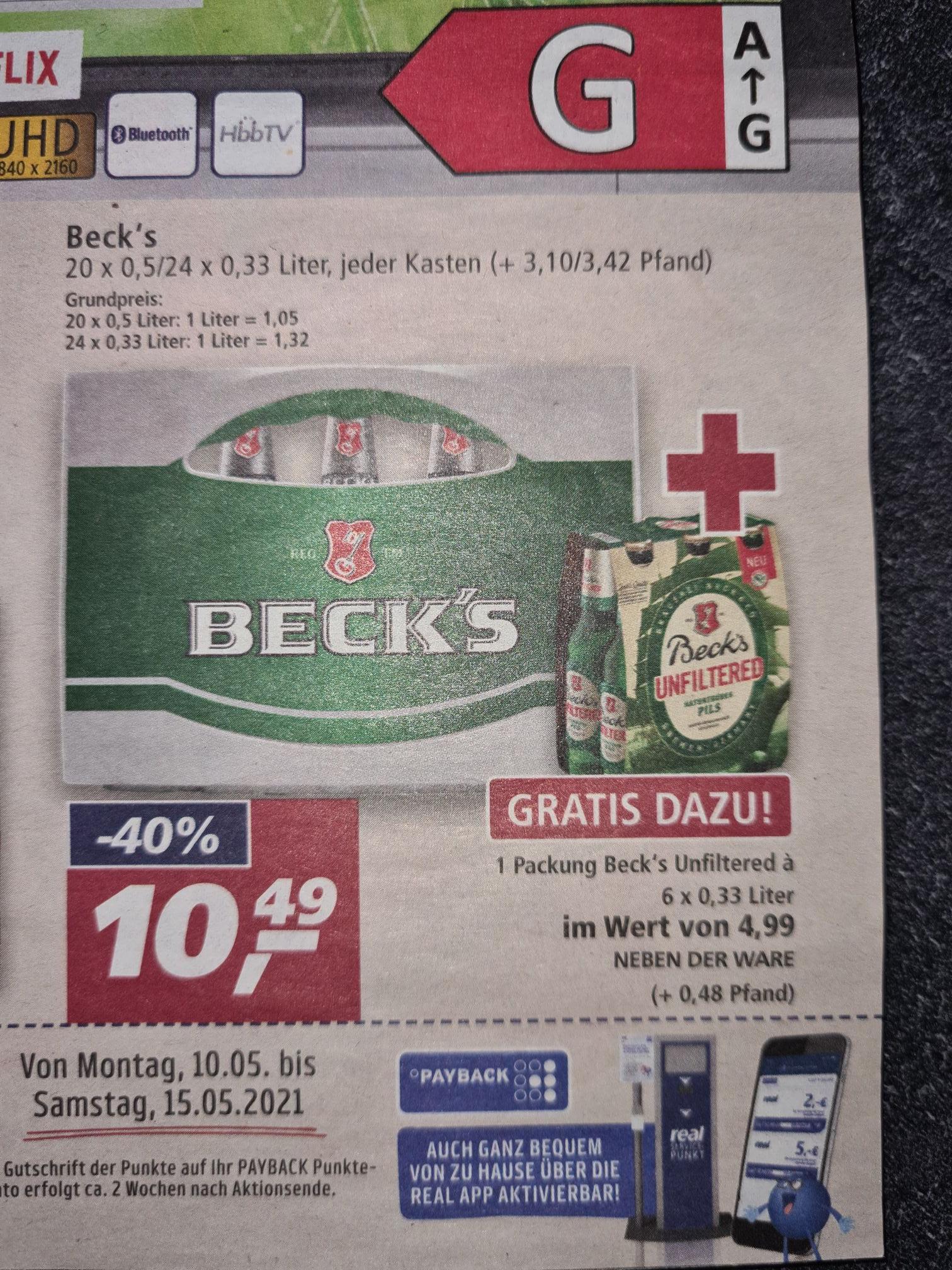Real offline, Beck's Kiste mit 24*0,33 oder 20*0,5 inklusive Sixpack Unfiltered. [Lokal Westen und Südwesten?]