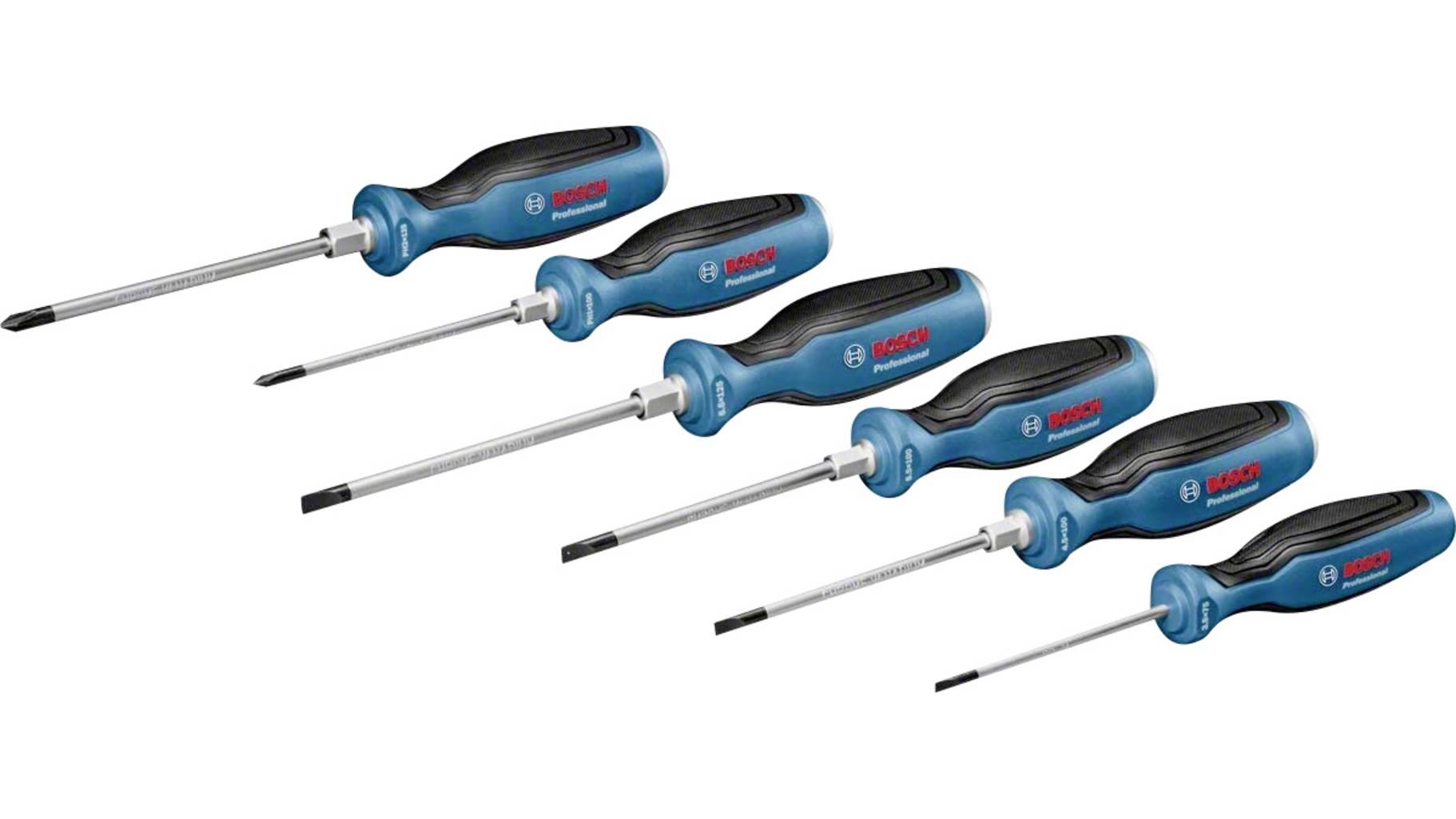 Bosch Professional 6 tlg. Schraubendreher-Set / PH 125 mm, PH 100 mm, SL6.5 125 mm, SL5.5 100 mm, SL4.5 100 mm, SL3.5 75 mm, L-Boxx-Einlage