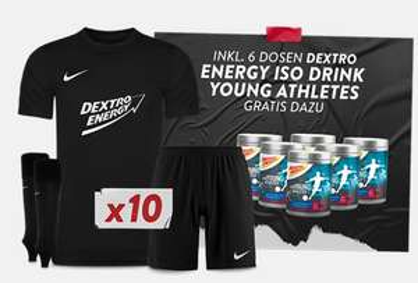 10er Set Nike Park VII KINDER Trikotset (mit Dextro Energy Aufdruck) + 6 Dosen Dextro Energy Drink