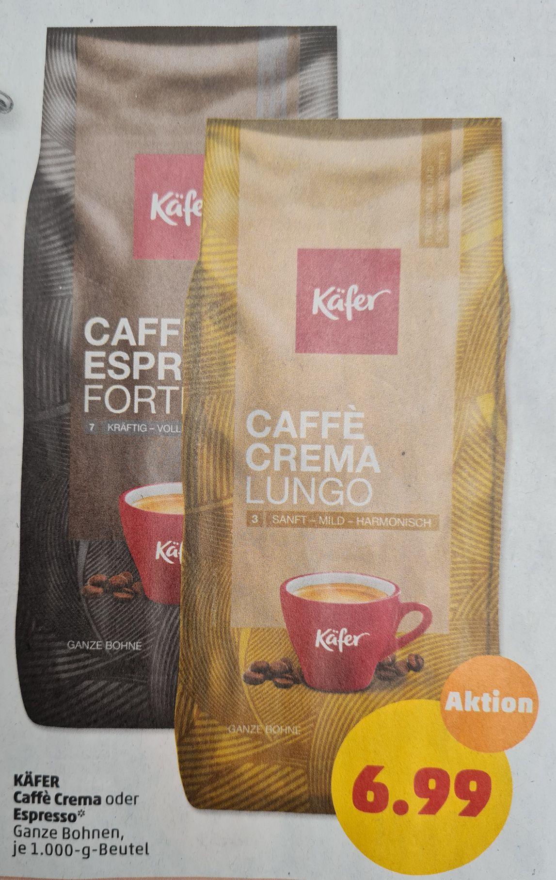 Käfer Caffé Crema oder Espresso Ganze Bohnen je 1000 g ab Mittwoch 12.05 Penny