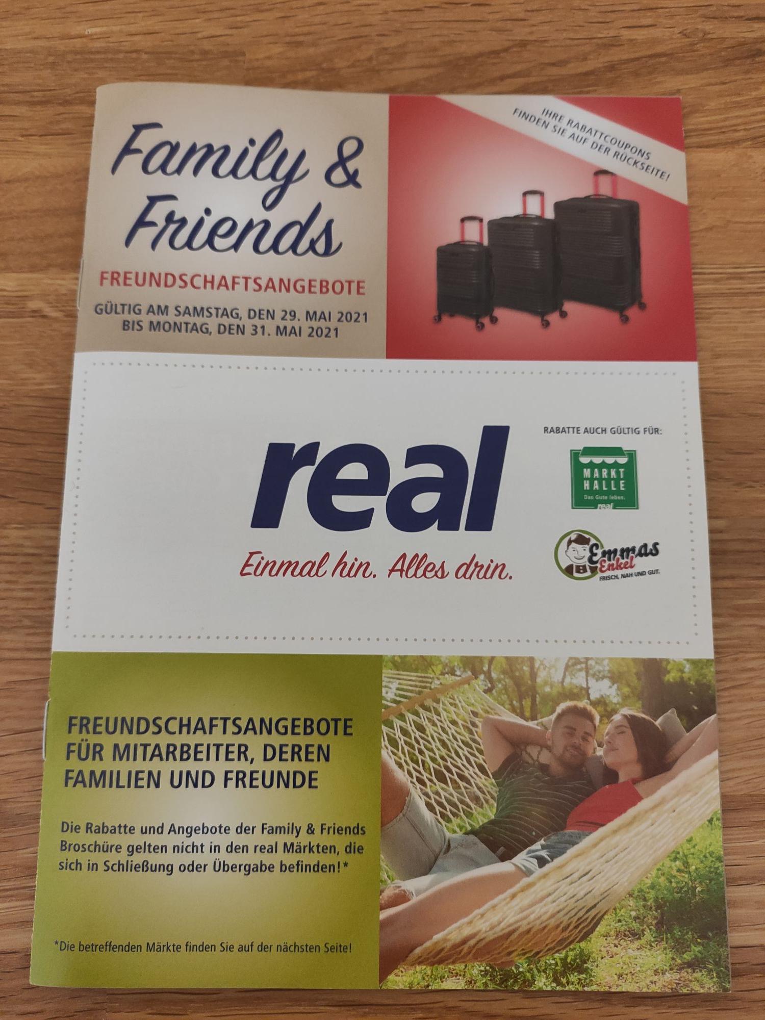 [real family&friends 29.05.-31.05.] u.a. 20% auf Fernseher/Tablets/Smartphones, 30% auf Haushaltsgroßgeräte