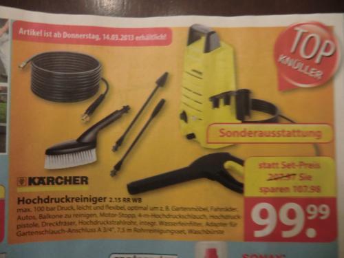 KÄRCHER Hochdruckreiniger 2.15 RR WB, inkl. Rohrreinigungsset & Waschbürste --> Famila Löhne