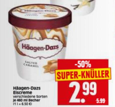 [HERKULES] Häagen-Dazs Eiscreme 380-460 ml für 2,99€ [mögl. 1,74€/Becher mit Coupon]