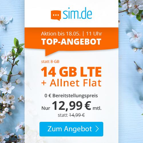 Drillisch KW19 Angebote: 14GB sim.de 12,99€ I 12GB Handyvertrag.de 11,99€ I 10GB winSIM 9,99€ I 8GB PremiumSIM 8,99€ I 6GB simplytel 6,99€