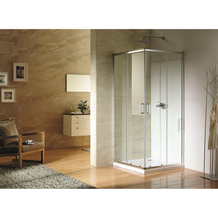 toom Duschkabine Eckeinstieg 'Paola' mit Schiebetüren 90 x 90 cm (Türen und Seitenwände aus 5 mm starkem Sicherheitsklarglas)