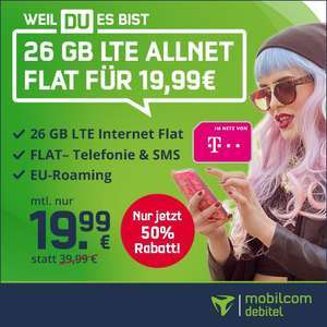 26GB LTE Tarif (Telekom-Netz, 21,6 Mbit/s) von mobilcom-debitel für mtl. 19,99€ + 40€ Coupon (VoLTE, WLAN Call)