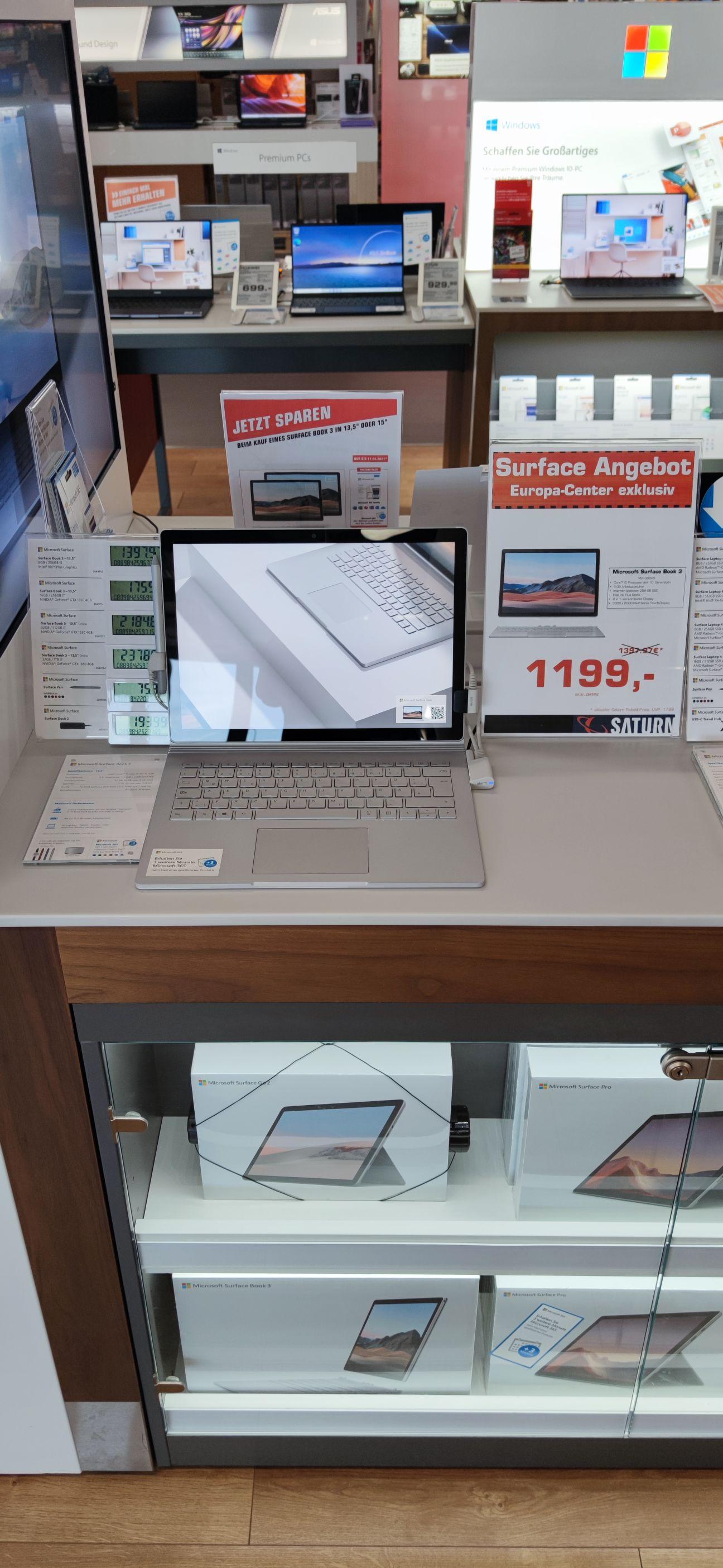 """Microsoft Surface Book 3 13,5"""" noch mal 200€ günstiger bei Saturn Europa-Center, Berlin Charlottenburg"""