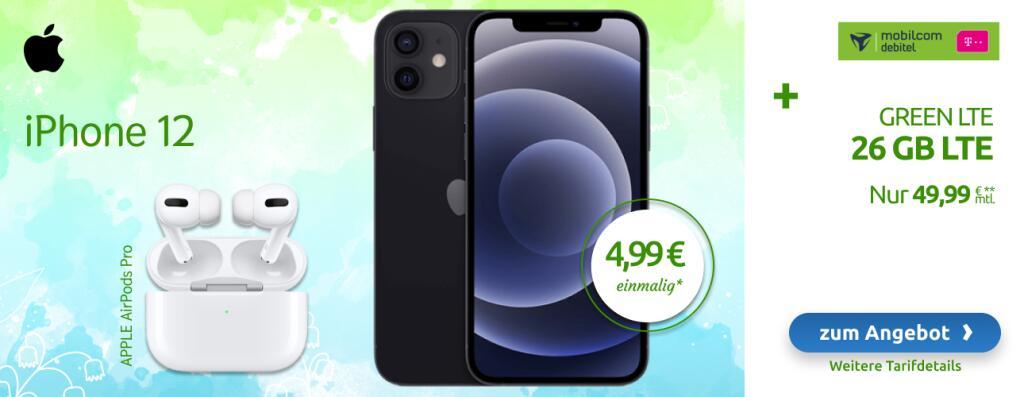 mobilcom-debitel Telekom green LTE 26 GB mit iPhone 12 und AirPods Pro