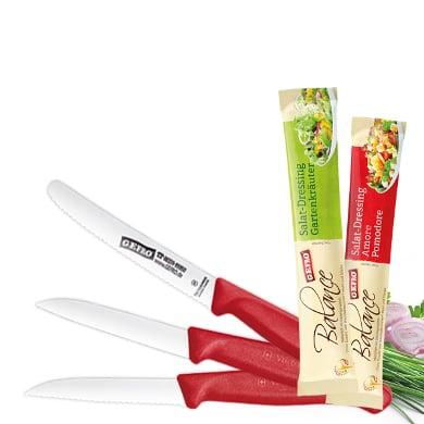 GEFRO 15,31€ für 3x Tomatenmesser 2x Gemüsemesser + 2x Salatdressing Küche