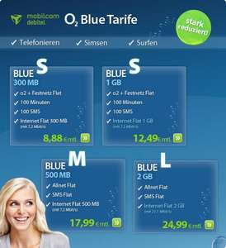 o2 Blue S inkl. Internet Flat 1GB - nur 12,49€ mtl