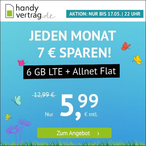 Drillisch KW19 Angebote II: 6GB LTE Handyvertrag.de Tarif für mtl. 5,99€ (mtl. kündbar) oder 7GB LTE sim.de Tarif für mtl. 7,77€