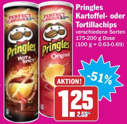 Pringles Chips in verschiedenen Sorten, 165-200Gramm (Bundesweit) beim HIT im Angebot
