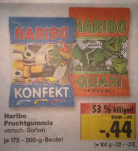 [Kaufland] Haribo Fruchtgummi - Verschiedene Sorten (175g/200g) - 0,44 €