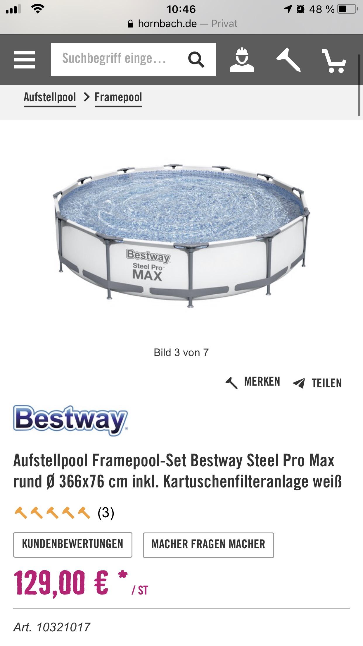 Bestway Steel Pro Max 366x76 inkl. Kartuschenfilter
