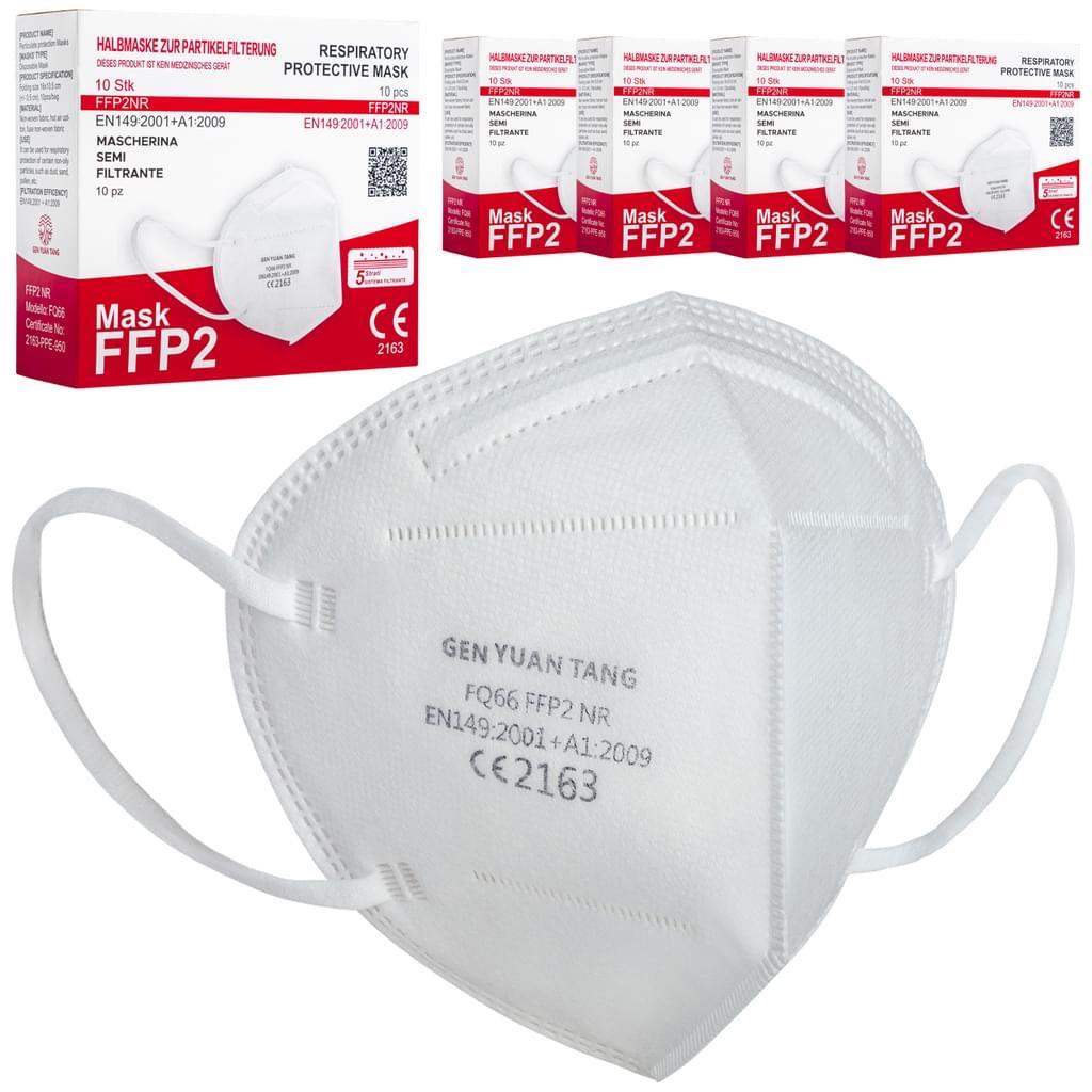 50x FFP2 Atemschutzmasken, Mundschutz, weiß, CE2163