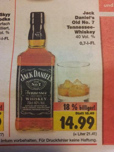 0,7 l-Flasche Jack Daniel's Old No.7 für 14,99€ [Kaufland]