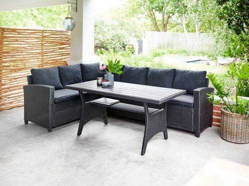 Lounge-Set ULLEHUSE mit Tisch und Ecksofa, B. 238 cm, H. 73 cm, T. 179 cm, 400€ in Filiale, 449€ Lieferung Dänisches Bettenlager ab 16.05.21
