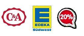 C&A Geschenkkarte 25€ und 40€ 20% Rabattaktion, Edeka Südwest
