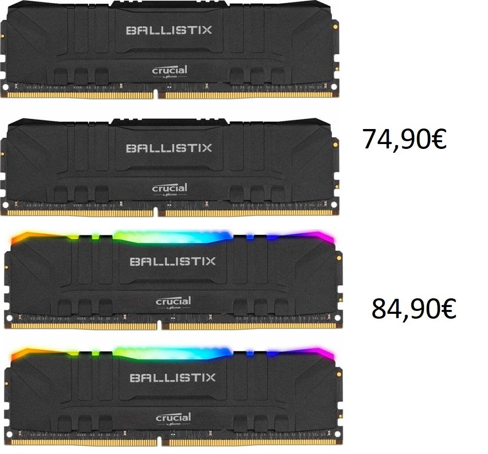 Crucial Ballistix 16GB Kit (DDR4-3200, CL16-18-18-36) für 74,90€ / RGB für 84,90€ / 32GB 153,90 bzw. RGB 174,90€