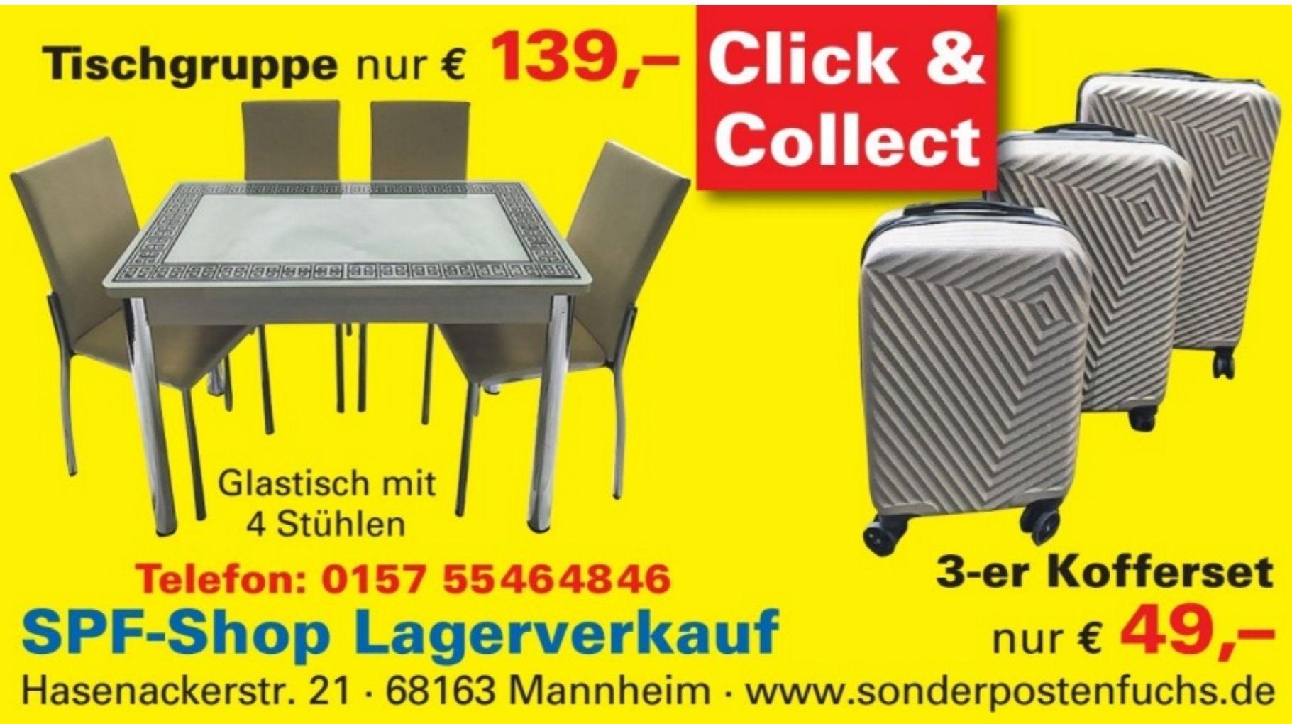 LOKAL Mannheim-Neckarau: Tischgruppe-Esszimmer-Tischset / Glastisch mit 4 Stühlen 139,00 Eur