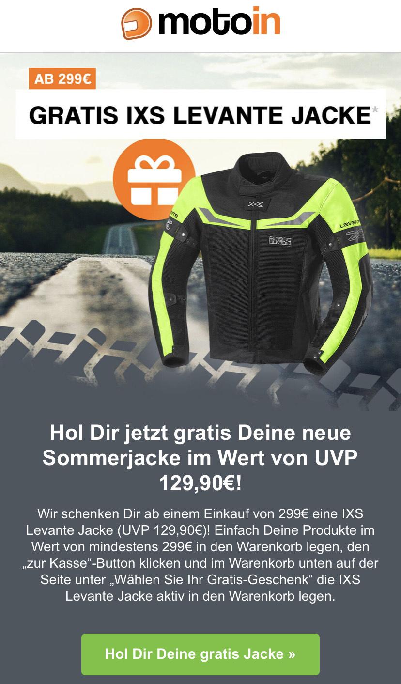 Gratis IXS Levante Jacke ab einem Einkauf von 299€ / Motorrad