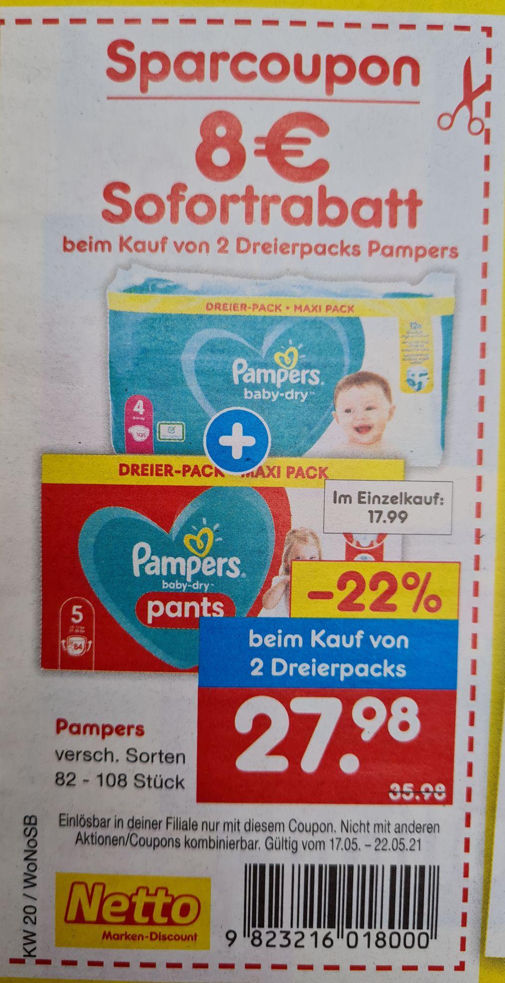 8 Euro SofortRabatt beim Kauf von 2 Dreierpack Pampers ab 17.05 Netto MD