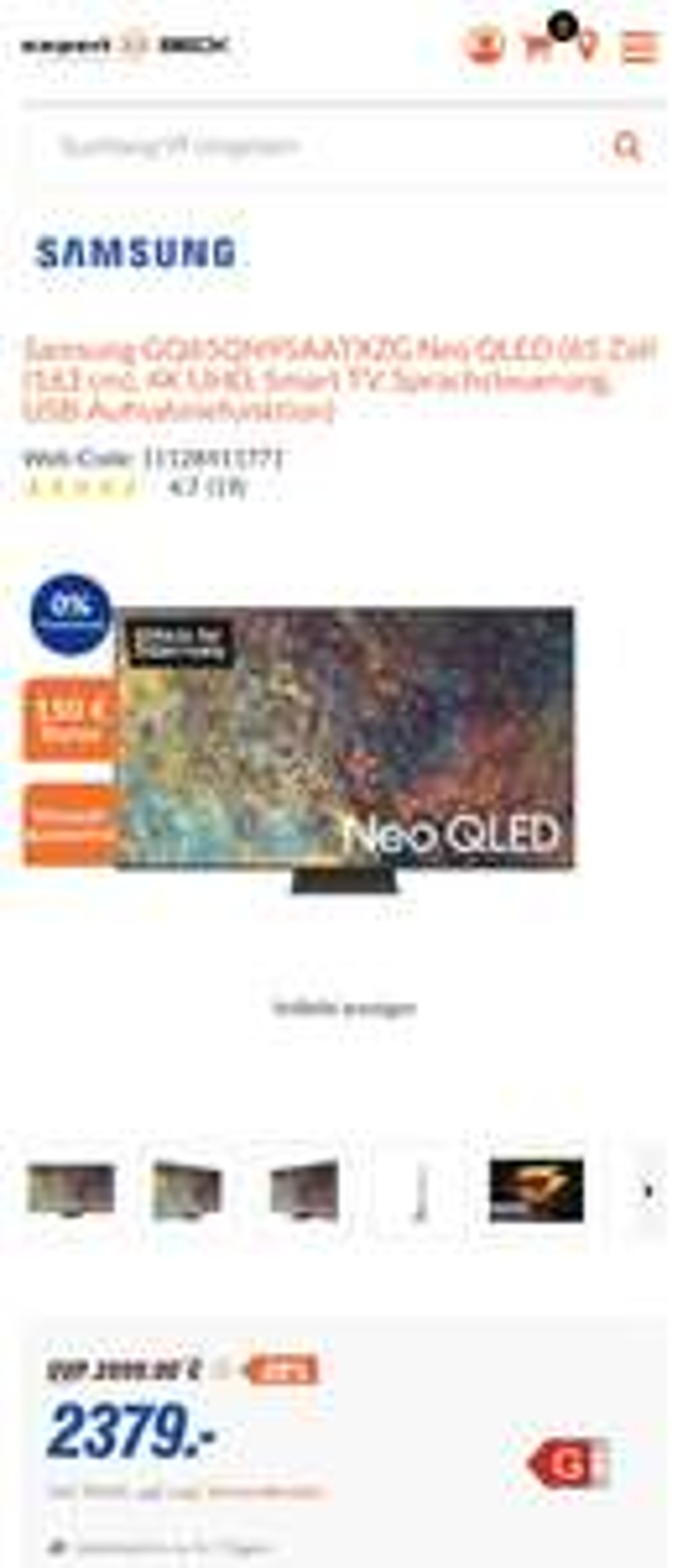 Samsung GQ65QN95AATXZG Neo QLED (65 Zoll (163 cm)