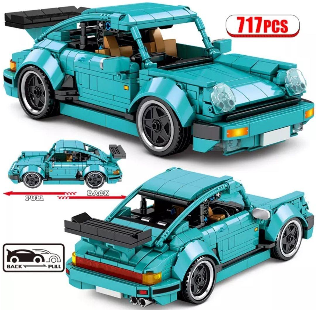 Klemmbaustein Sportwagen, 717 Teile, Pull Back Racing Auto