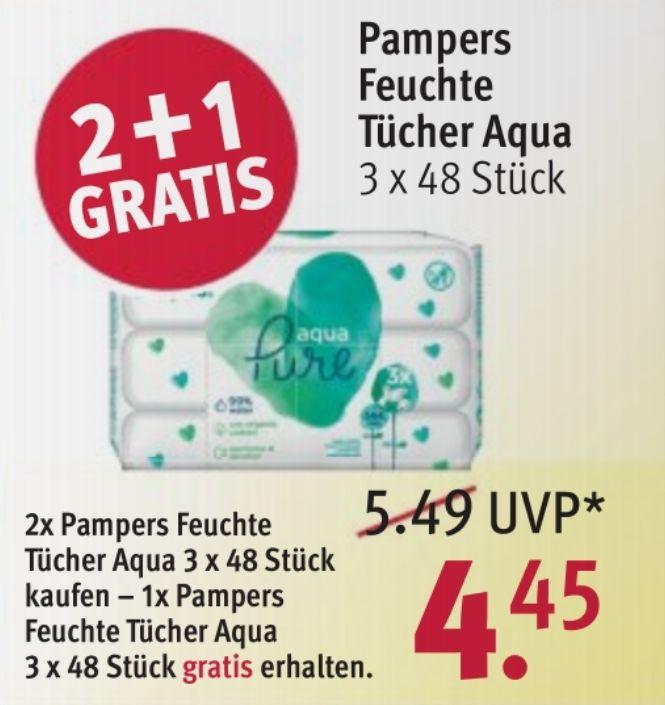 Rossmann | Pampers Feuchte Tücher Aqua 3 x 3 x 48 Stück