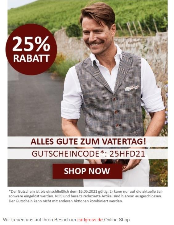 Carl Gross bzw. Club of Gents jeweils 25 % Rabatt auf aktuelle Kollektion