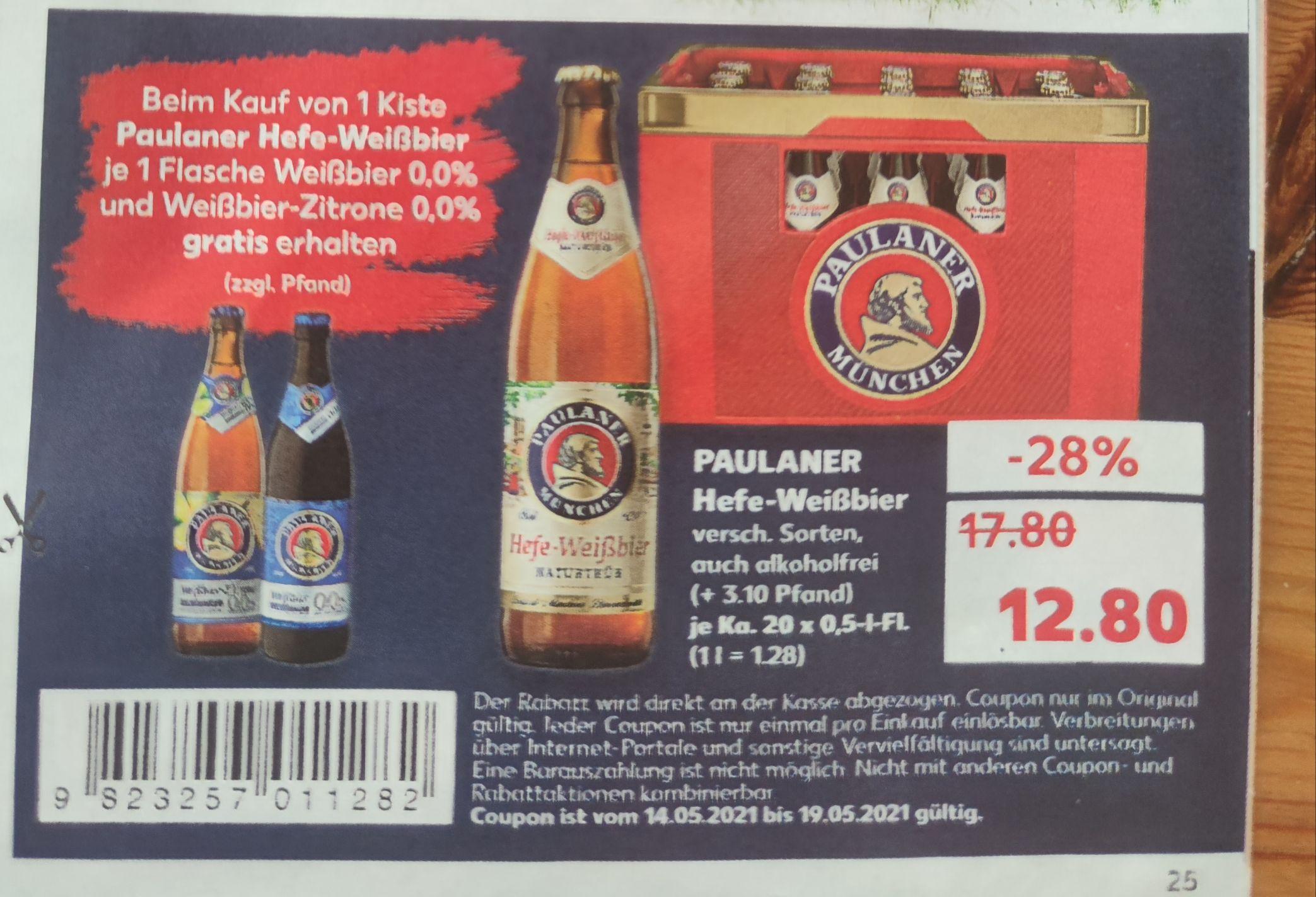 Paulaner Hefe-Weißbier 20 x 0.5l mit 2 gratis Flaschen alkoholfrei