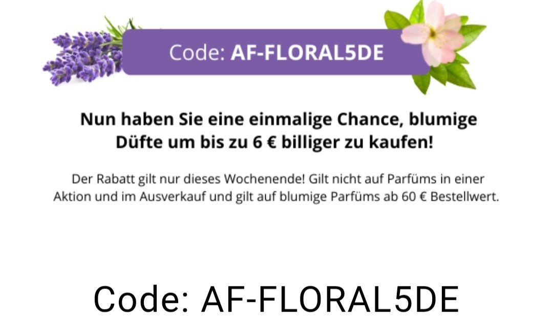 Brasty 6 Euro (Minus 10%) Wochenende mit Extra Rabatt, Rabattcode: AF-FLORAL5DE auf blumige Parfüms ab 60 Euro