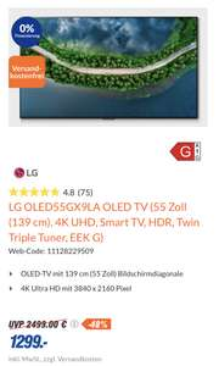 LG OLED55GX9LA TV (55 Zoll (139 cm), 4K UHD, Smart TV, HDR, Twin Triple Tuner, EEK G)
