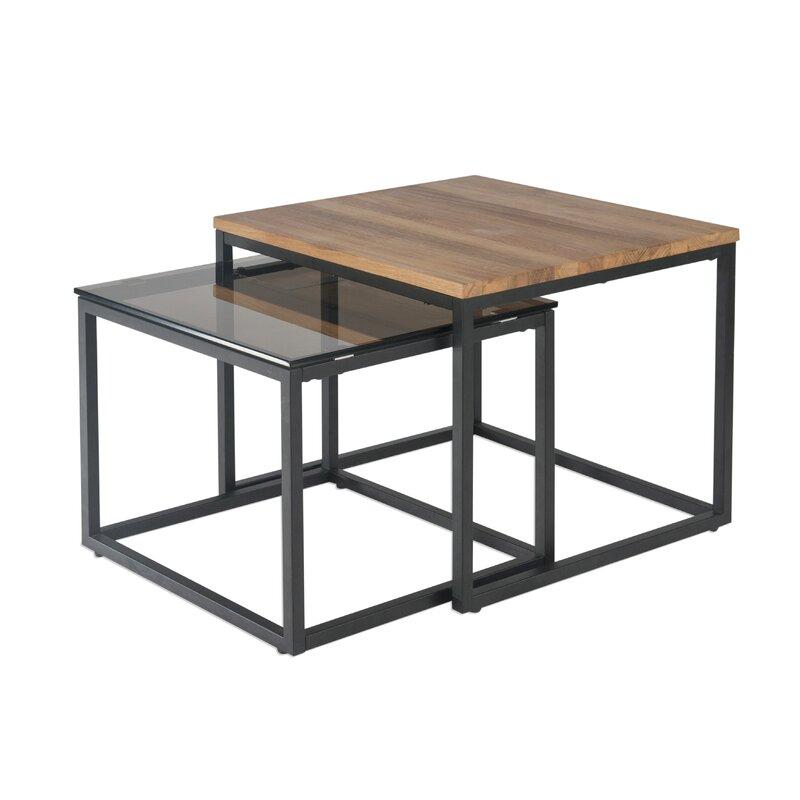 Ebern Design Couchtisch 2er Set Wildeiche massiv / Rauchglas