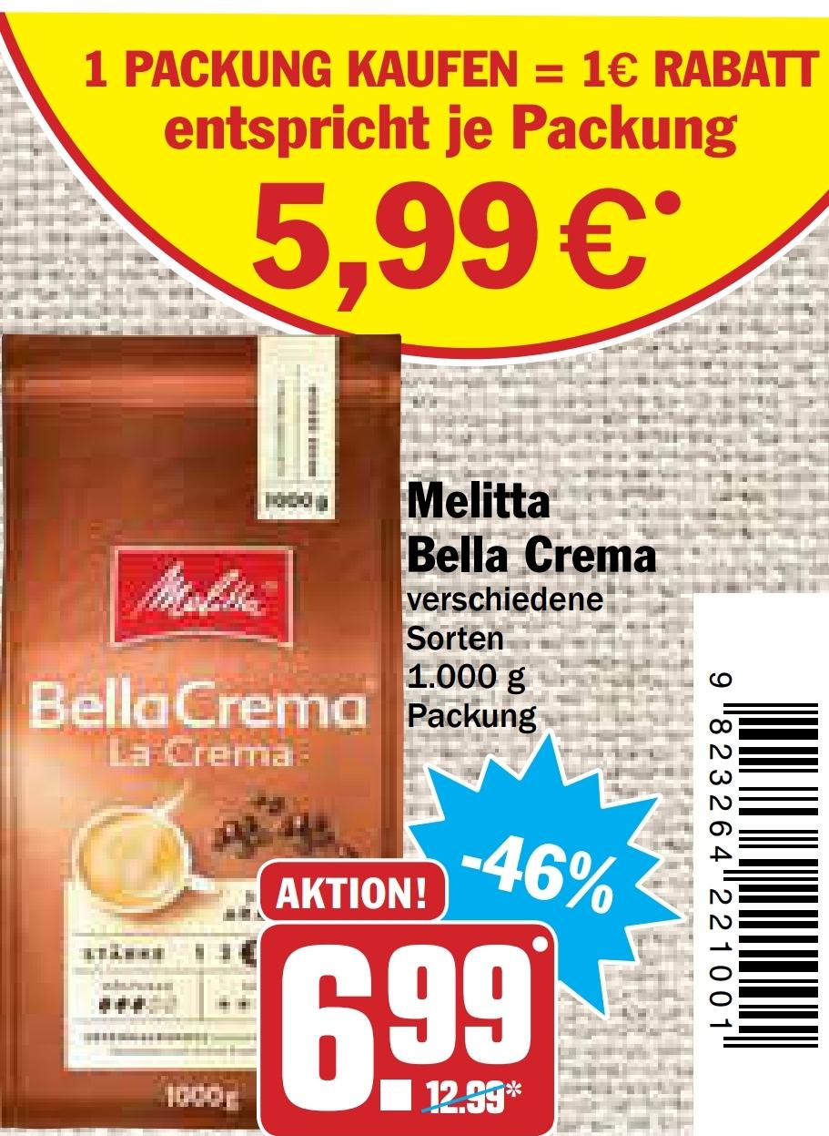 [HIT Markt] Melitta Kaffeebohnen Bella Crema diverse Sorten 1kg