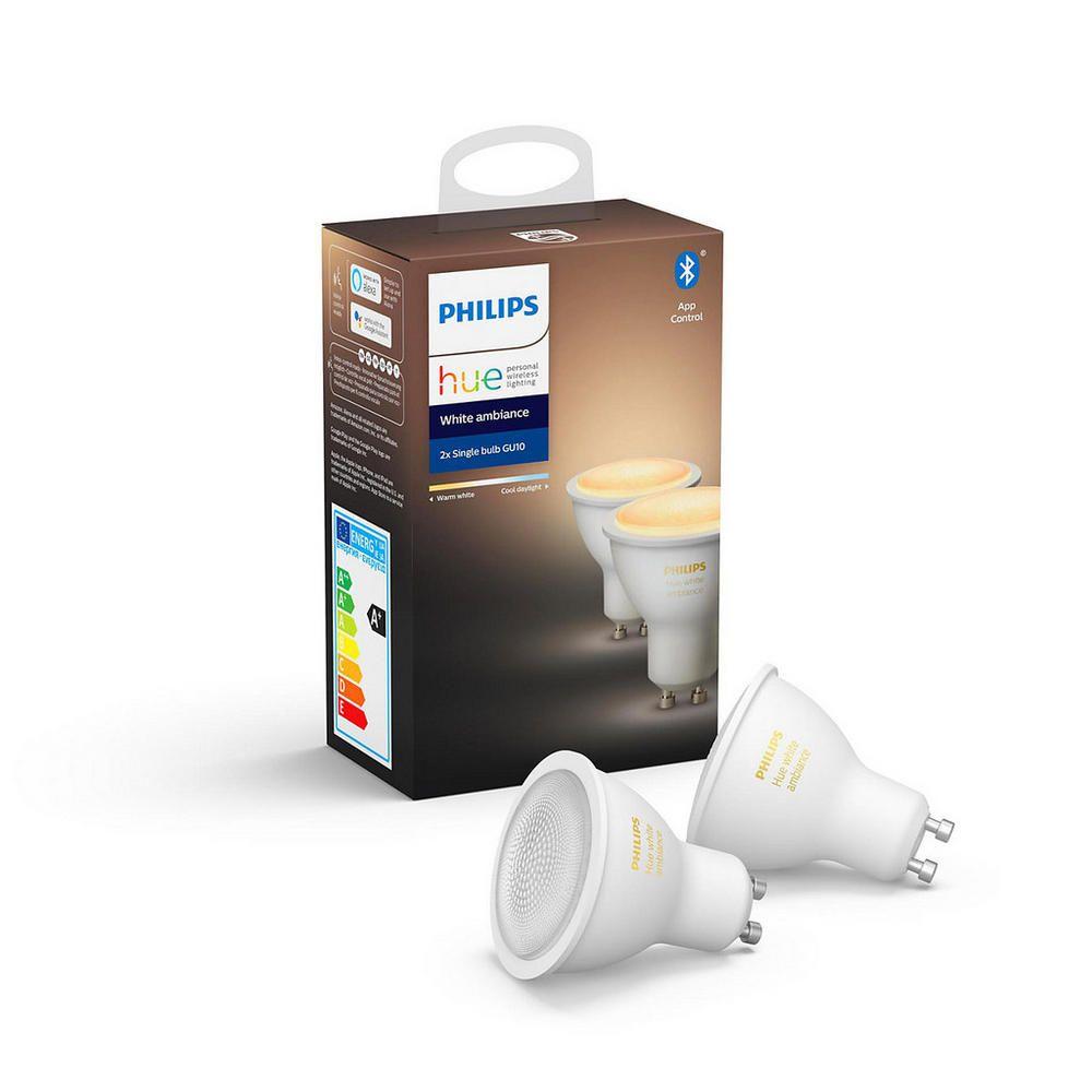 Philips Hue GU10 White Ambiance Doppelpack - alle Weißtöne - aktuelle Version - mit Bluetooth +ZigBee