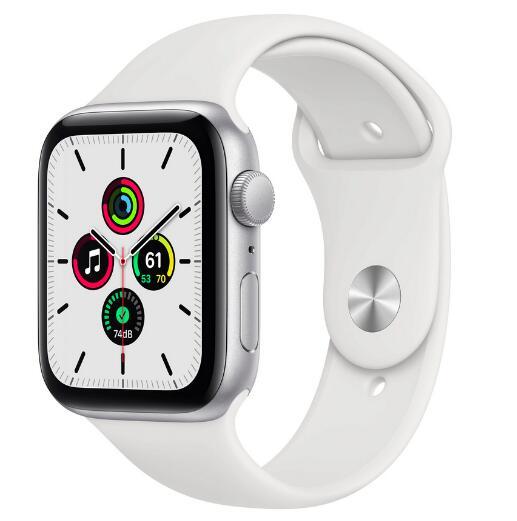 Apple Watch SE 44 mm, Aluminium silber, Sportarmband weiß
