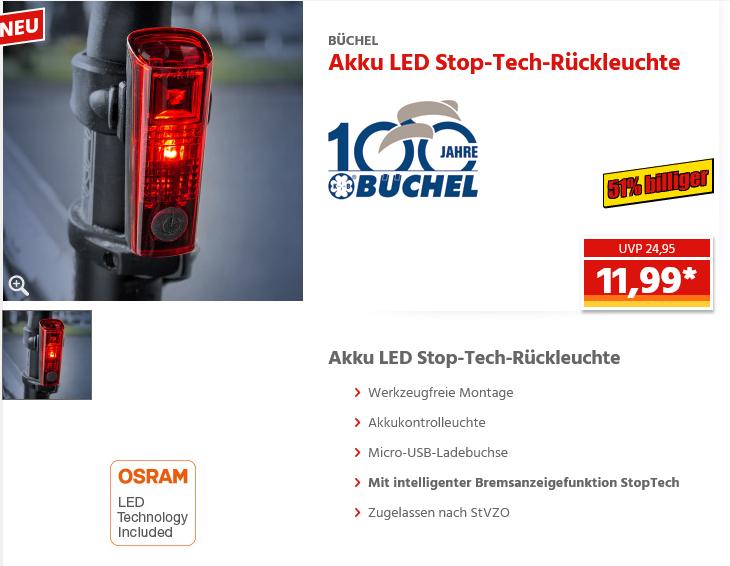 Norma - Büchel LED-Akku-Rücklicht Duo LED für Sattelstütze, Stoptech für 11,99 €