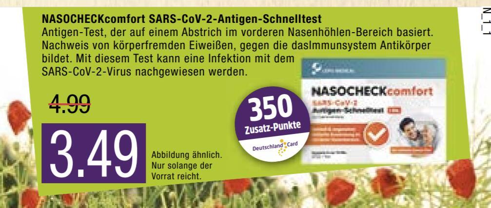 Marktkauf Nord Corona Schnelltest für 3,49€ + 350 Deutschland Card Punkte Freebie möglich.