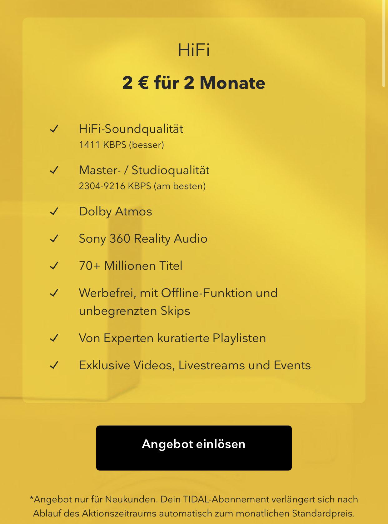 Tidal Hi-Fi 2 Monate für 2 Euro Neukunden