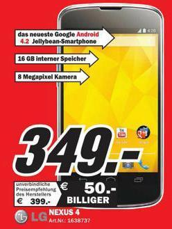 [Lokal] Google LG Nexus 4 für 349€ bei MM Ludwigshafen