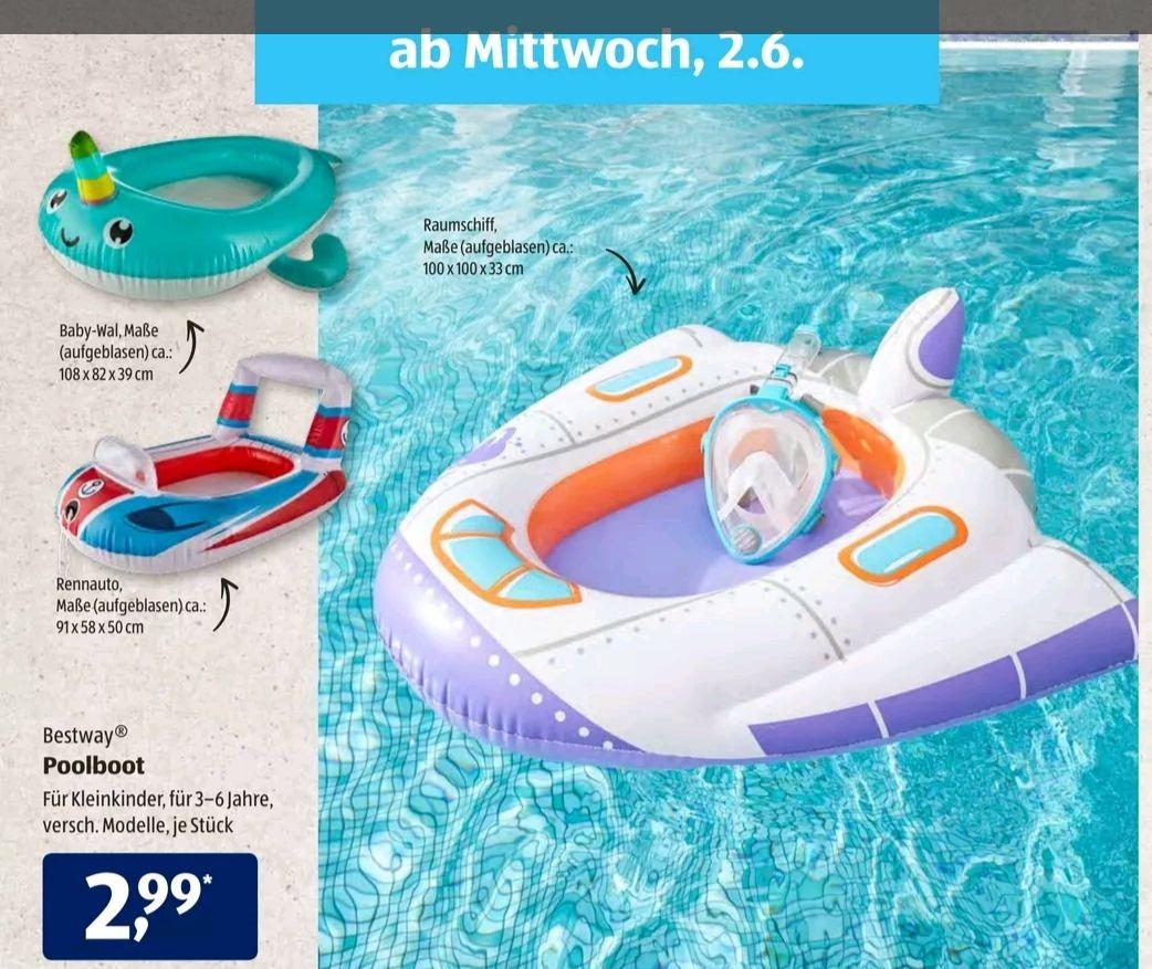Bestway Poolboot Raumschiff, Rennauto oder Baby-Wal, Aldi Süd 02.06.21