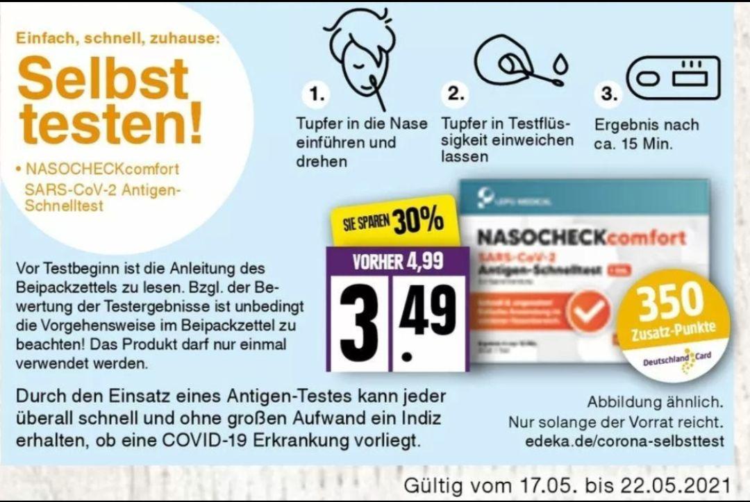 [EDEKA Nord] Corona Selbsttest mit DeutschlandCard 1 Cent Gewinn